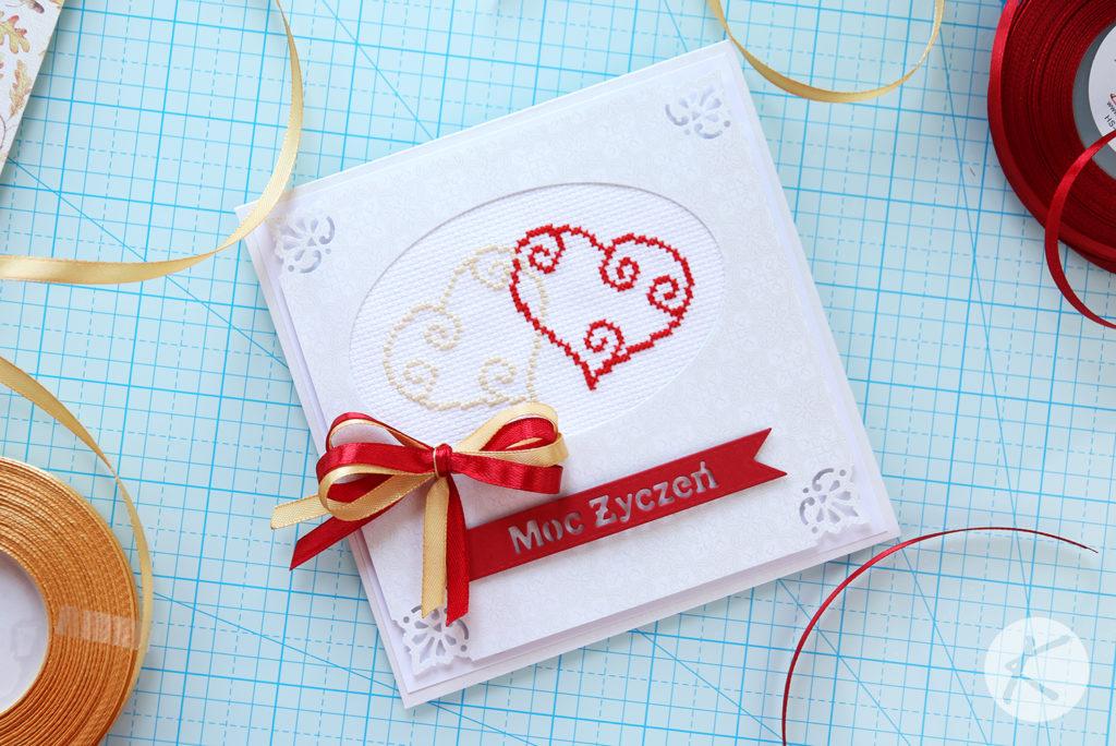 Dwa serduszka - kartka ślubna