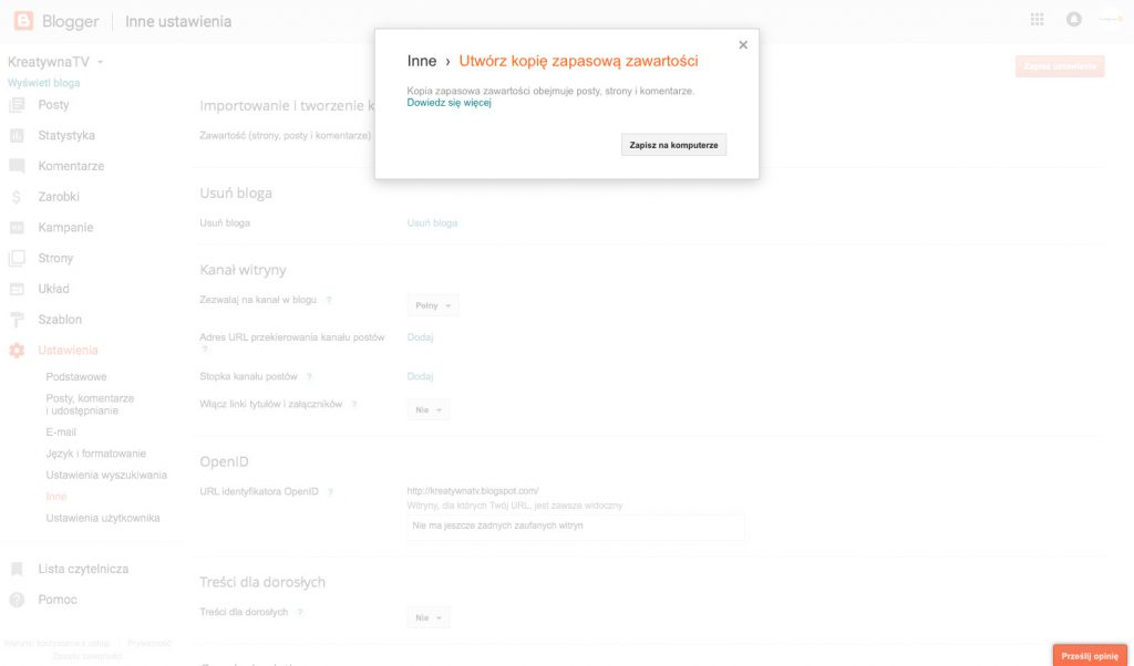 Jak zrobić kopię bloga?   KreatywnaTV